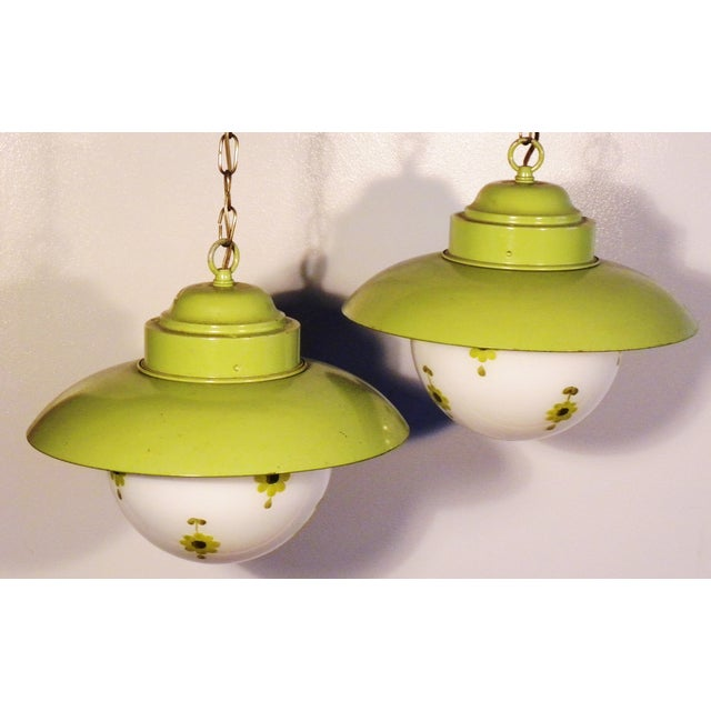 Chartreuse Flower Swag Lamps - A Pair - Image 2 of 7