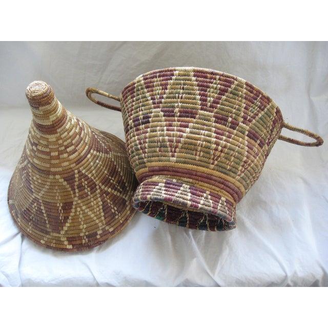 African Woven Baskets: Lidded African Woven Basket