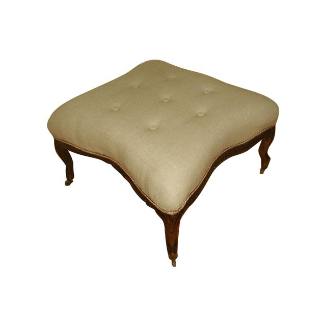 French 1850s Upholstered Walnut Stool - Image 1 of 7