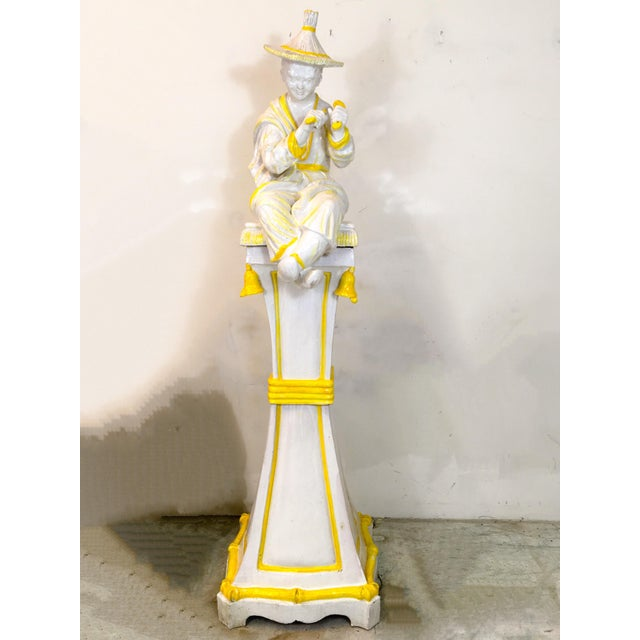 Palm Beach Style Chinoiserie Statue - Image 2 of 7