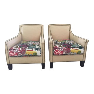 Henredon Beachside Modern Raffia Chairs - A Pair