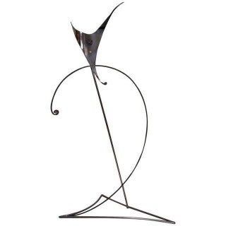 Sculptural Floor Lamp in Polished Chrome, Copper, and Semi-Precious Gem Stones