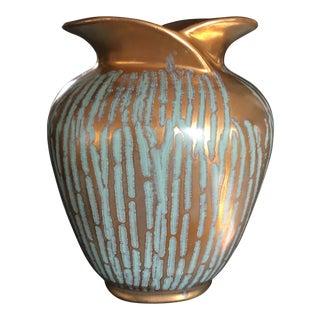 Art Deco Gold & Sea Foam Green Vase