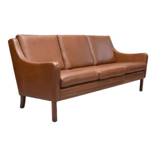 Borge Mogensen Style Danish 3 Seater Leather Sofa