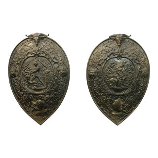 Vintage Mythological Bronze Wall Plaque Shields - A Pair