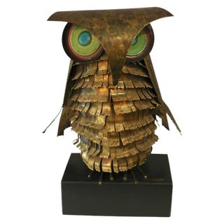Curtis Jere Brass Owl Sculpture, circa 1969