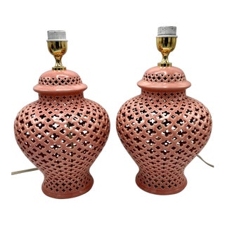 Reticulated Pink Ceramic Italian Urn Lamps - A Pair
