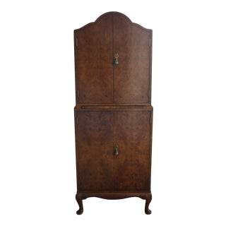 Art Deco Burl Wood Bar Cabinet