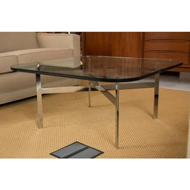 Mid-Century Steel X Base Cocktail Table - Image 4 of 9