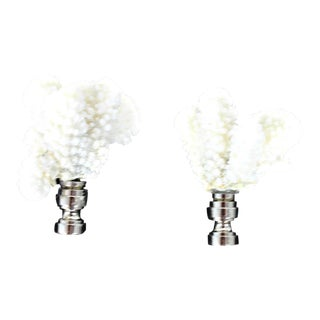 White Coral Lamp Finial - A Pair