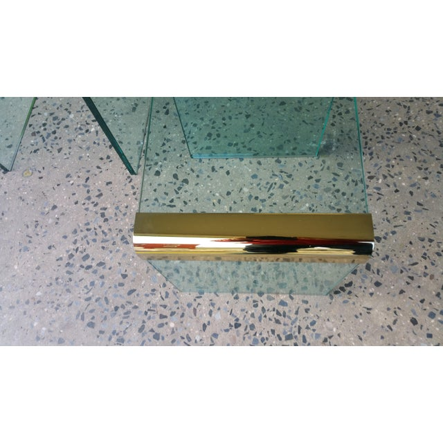 Pace Collection Brass & Glass End Tables- A Pair - Image 6 of 8