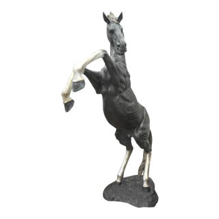 Massive Bronze Horse Statue on Its Hind Legs