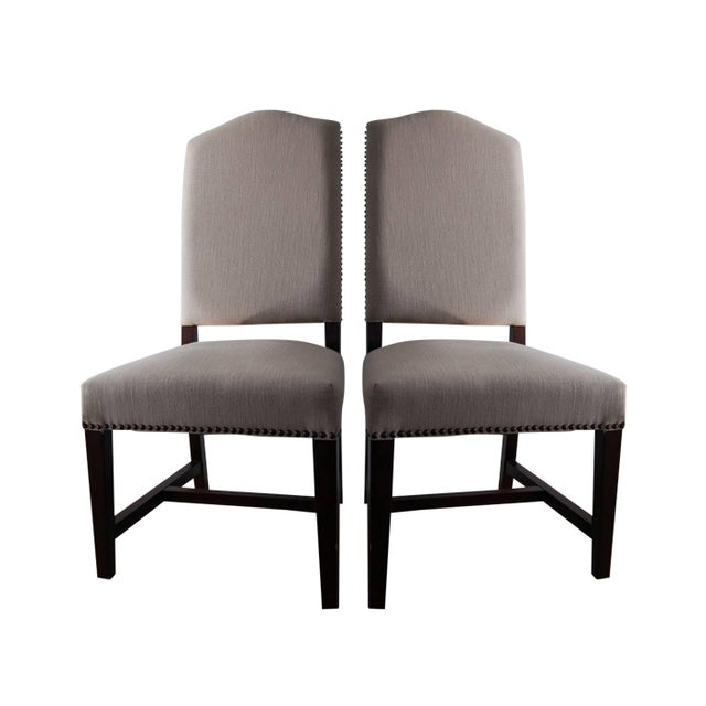 Image of High Back Upholstered Dining Chairs - Pair