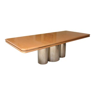 Brueton Bird's-Eye Maple and Stainless Steel Dining Table