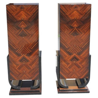 French Art Deco Macassar Ebony Pedestals - A Pair