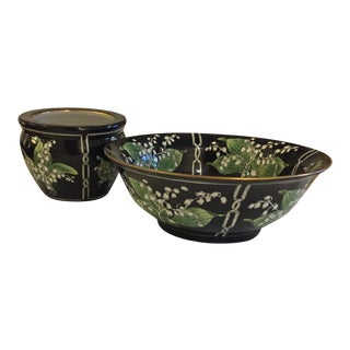Andrea by Sadek Lily of the Valley Decorative Bowl & Cachepot - A Pair