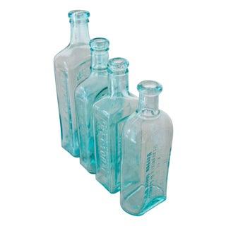 Vintage Blue Glass Medicinal Bottle Set