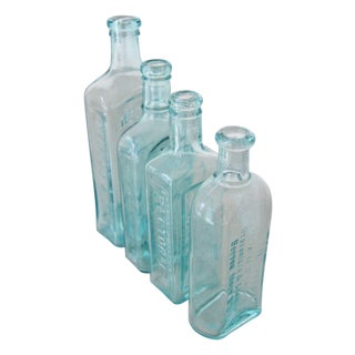 Vintage Blue Glass Medicinal Bottle Set