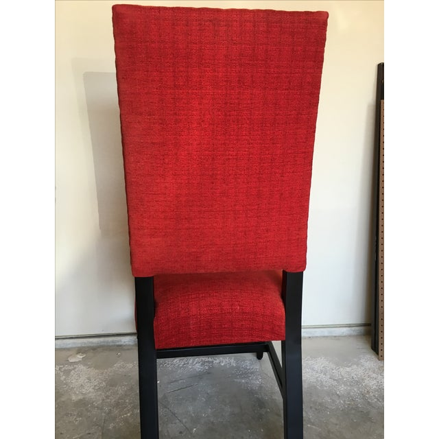 Transitional Red Chenille Dining Chairs - Set of 4 - Image 10 of 11