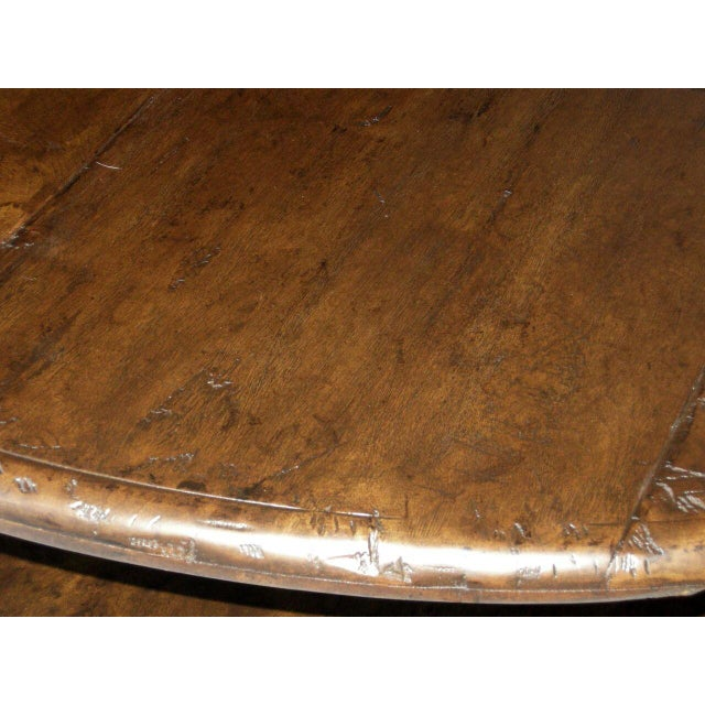 Custom Walnut Wood Round Colonial Coffee Table With Shelf - Image 8 of 10