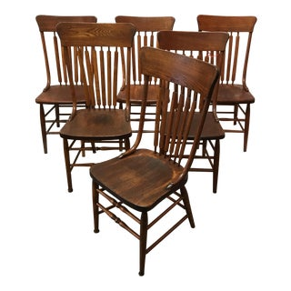 Antique Country Dining Chairs - Set of 6