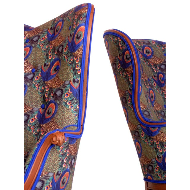 Victorian Peacock Wing Chairs - A Pair - Image 4 of 5