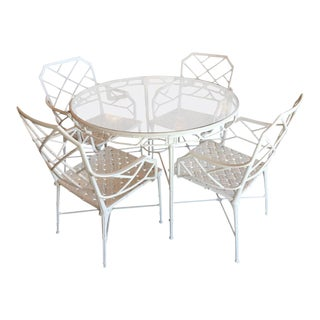 Brown Jordan Five Pc Calcutta Faux Bamboo Table & Armchairs Patio Set