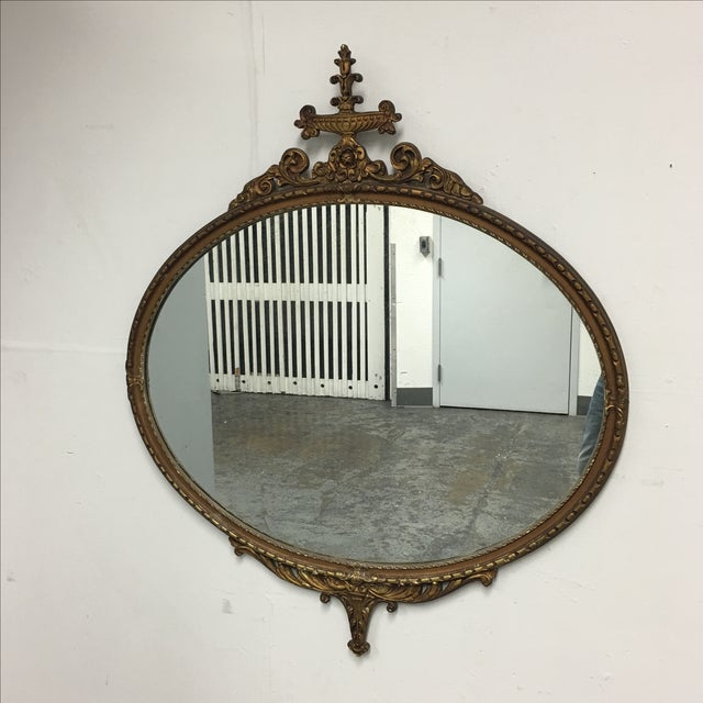Antique Ornate Gold Oval Mirror - Image 3 of 7