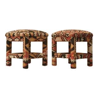 c.1970 Pair of Kilim Upholstered Stools by Karl Mann