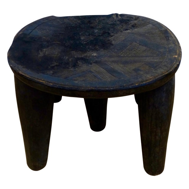 Wooden Hand-Carved African Stool - Image 1 of 4