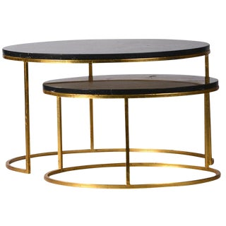 Modern Black Marble Nest Coffee Table