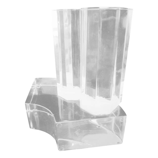 Image of Thick Modernist Two-Tiered Lucite Display Art