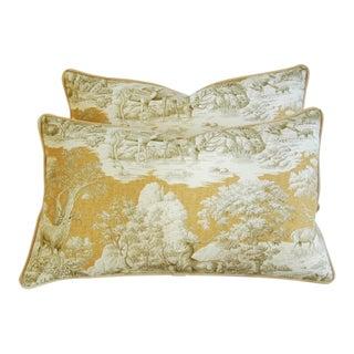 Designer Woodland Toile Deer & Velvet Pillows - Pair