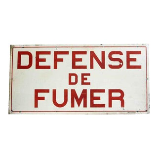 Vintage Reclaimed French No Smoking Wall Sign