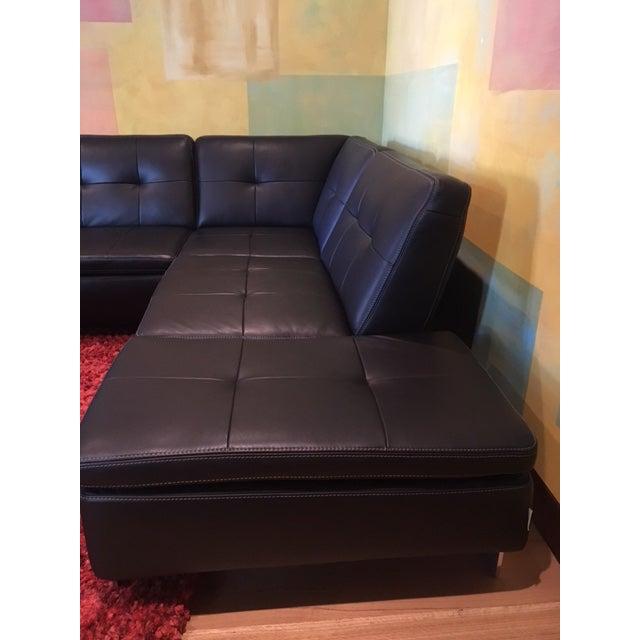 Scandinavian Design 2 Piece Black Leather Sectional Sofa - Image 4 of 6