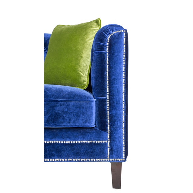 Image of Pasargad Victoria Collecion Royal Blue Velvet Sofa