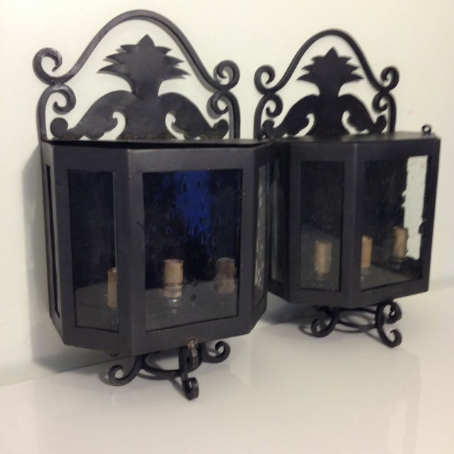 Image of Metal Outdoor Sconces - A Pair