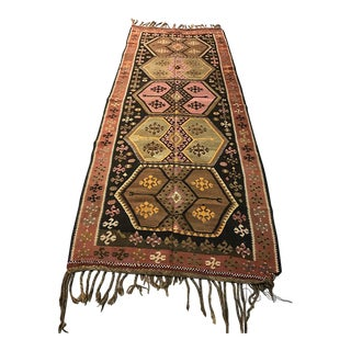 Vintage Anatolian Kars Kilim Rug - 4'2'' x 10'8''