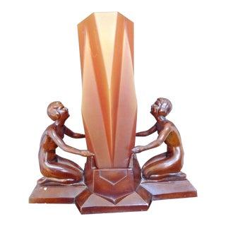 Unique & Rare Art Deco Clearance Nuart Lady Pair Lamp W Geometric Amber Glass