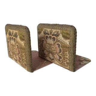 Antique Textile Bookends - A Pair