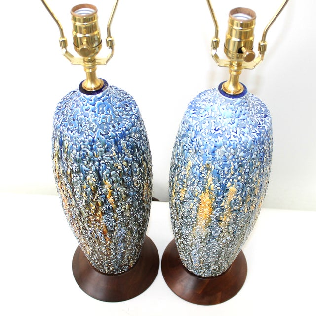 Mid-Century Modern Pottery Lamps - a Pair - Image 3 of 7