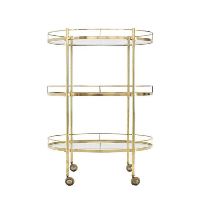 Three-Tier Brass Oval Tea Serving Cart - Image 4 of 8