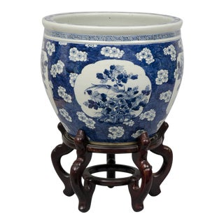 Chinese Export Jardiniere or Fish Bowl on Stand, Circa 1880