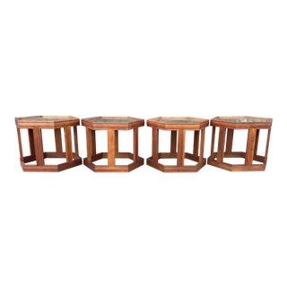 John Keal for Brown Saltman Hexagonal Tables- Set of 4