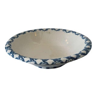 Large 19th Century Spongeware Serving Bowl
