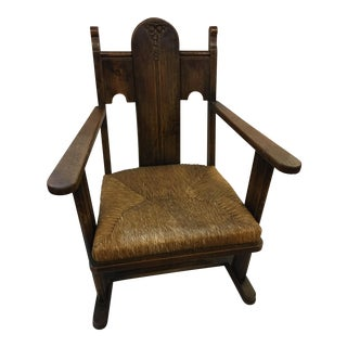 Art Deco Carved Oak & Rush English Chair