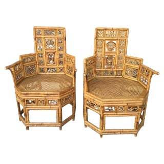 1920s Bamboo Armchairs - A Pair