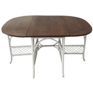 Beautiful Wicker & Oak Drop-Leaf Dining Table