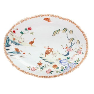 Chinese Export Porcelain Famille Rose Dish with Boy on Ox, Circa 1750-65.