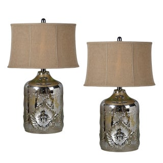 Mercury Glass Lamps & Burlap Shades - A Pair